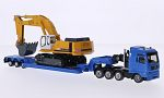 MAN + LIEBHERR Heavy Transporter with Low bed trailer and Crawler excavators